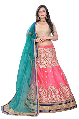 OOMPH! Womens Net Bridal Lehenga Choli/Semi Stitched Lehenga Party Wear/Ghagra Choli Weddings,...