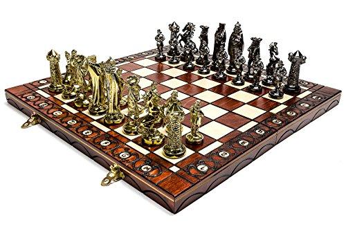 MITTELALTERLICHE GOLD - große 40cm/15,7 In künstlerischen Chrome Schachspiel