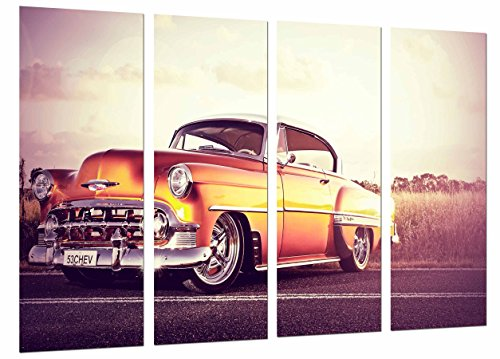 Cuadro Moderno Fotografico Coche Vintage Chevrolet Naranja, Clasico, 131 x 62 cm, ref. 26721