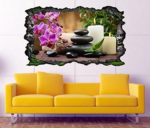 3D Wandtattoo Azteken Ruinen Wellness Steine Blumen Orchidee Bild selbstklebend Wandbild sticker Wand Aufkleber 11F1153, Wandbild Größe F:ca. 97cmx57cm (Von Orchideen Bilder)