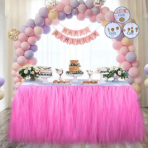 DEHUAIYKIO Roed Bullet Tutu Tüll Tisch Rock Tischröcke Party Dekorationen Geeignet für Hochzeit Geburtstagsfeier Festivals Dekor Dekoration Baby Mädchen Papierschnur Blumen (Rosa)
