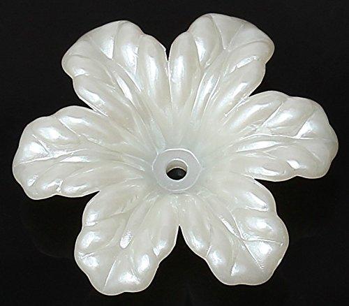 Acryl Endkappen (SiAura Material ® - 10 Stück Perlenkappen Acryl Blume, Weiß, 29 x 32 mm)