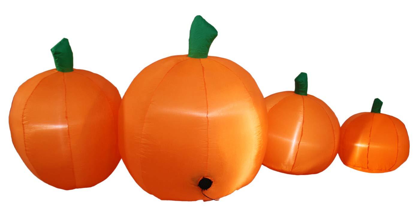 JF Deco 2.1m Aufblasbar Halloween Dekoration Kürbis Patch Familie Laterne Aufblasbare Dekorationen deko für Hausgarten…