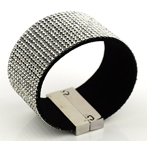 wide-wrap-rhinestone-bling-bracelet-band-magnetic-clasp-white