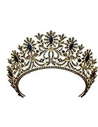 TINGTING Braut - Schmuck Barock - Diadem Krone Frauen Vintage - Stirnband Strass Crown Gold