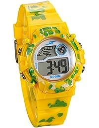 b8243f30ee4d JewelryWe Relojes para Niños Niñas Reloj Deportivo Digital Para Aire Libre  Reloj Infantil De Color Amarillo