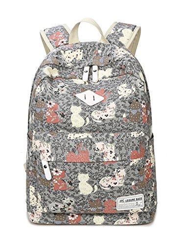 Keshi Leinwand Niedlich Damen accessories hohe Qualität Einfache Tasche Schultertasche Freizeitrucksack Tasche Rucksäcke Grau 1
