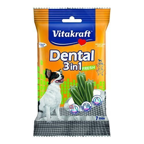 Vitakraft Dental 3in1 Fresh - Zahnpflege-Snack für Hunde bis 5 kg - 7 Sticks
