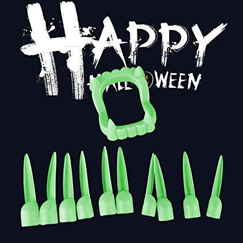 Kostüm Zehn Minute - Renendi Halloween-Requisiten, 10 Stück, gruselig, leuchtende Vampir-Finger, Finger, Nägel, Zähne, Zähne, mit Zahnentanz-Party-Kostüm multi