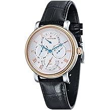 Thomas Earnshaw ES-8048-04 - Reloj para hombre con esfera analógica de color blanco plata y correa de cuero negra