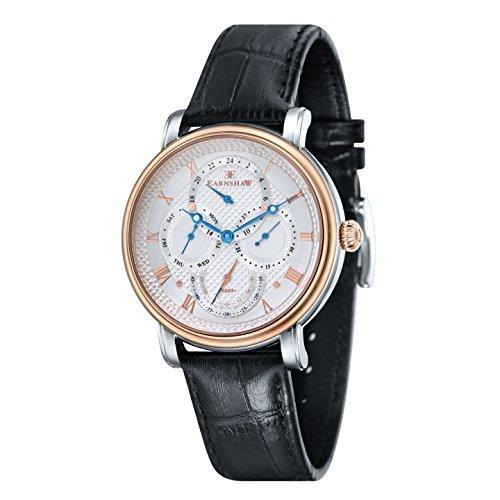 Thomas Earnshaw Men's Longcase Master Calendar Quartz Watch with White Dial Analogue Display and Black Leather Strap ES-8048-04