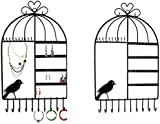 Itian Birdcage Shaped Wall Mount Jewelry Organizer Hanging Earring Holder Necklace Jewelry Display Stand Rack Black