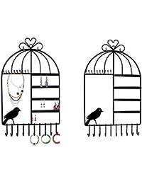 Itian Cintre de Bijoux - Support mural Présentoirs en form de cage à oiseaux bejewel Boucles d'oreille Supporter Collier Présentoir (Noir)
