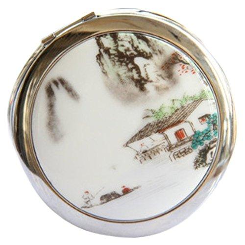 Leisial mini specchi cosmetici doppio face specchietti compatti 1x/5x ingrandimento portatile e pieghevole specchio tascabile