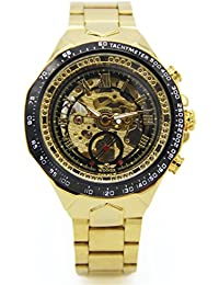 Men's Automatic Wrist Watch Skeleton Dial Gold Stainless Steel Band PMW511