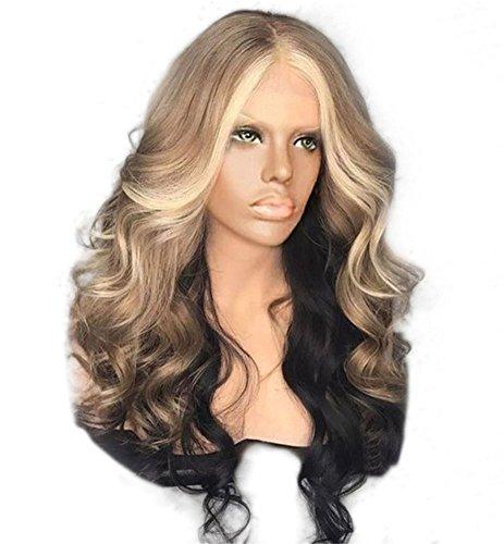 d Lange Welle Haar Perücken 2 Töne Mitte Teil Natürlich Welle Lange Lockig zum Frau Cosplay Party Ripple Haar 25