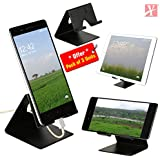 YT Mobile Phone Metal Stand/Holder for Smartphones and Tablet - Black Matt - Pack of 3 Units (Proudly Made in India)