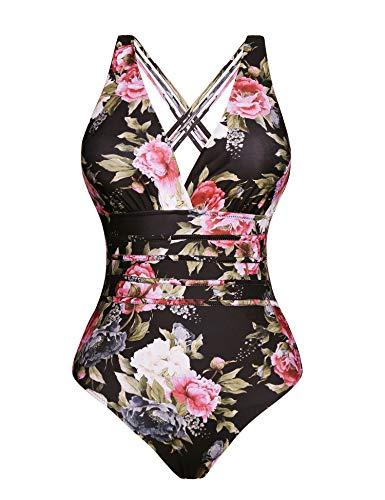 Aibrou Damen Einteiler Badeanzug,Einteilige Bauchweg Bademode Schwimmanzug Schlankheits figurformend Strandmode mit V-Ausschnitt - Strand Badeanzug