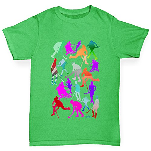 TWISTED ENVY Mädchen T-Shirt Field Hockey Rainbow Silhouettes Print Age 12-14 Grün (Mädchen-hockey-t-shirts)