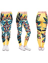 Print Leggings Damen Statement 30 MODELLE Ladies Leggins Stretch Hose von Alsino