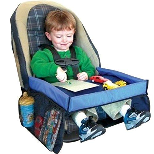 KKmoon Vassoio per Bambini, Impermeabile Tavolo per Bambini, Multifunzionale Vassoio di Viaggio per Sedile Posteriore per Auto, Blu