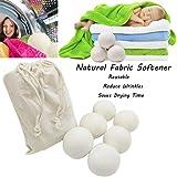 Wanshop Palline per asciugatrice, confezione da 6 pezzi in lana di pecora, riutilizzabili, ammorbidiscono i tessuti in modo assolutamente naturale, 6 cm, bianco, 6 cm