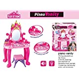 Babytintin Kids Battery Operated Beauty Makeup Role Playset With Piano, Real Blower And Mirror Durable Dressing Vanity Table Up With Music And Lights(Multicolour)