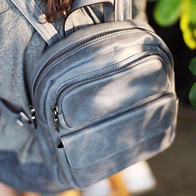 Frauen Rucksack PU alle Jahreszeiten Sport Casual Reißverschluss Grau Gray