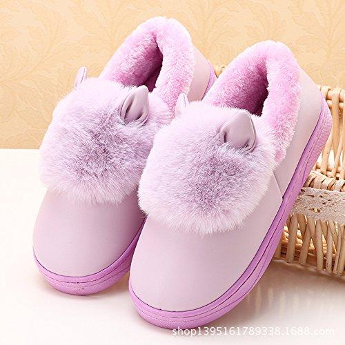 Icegrey Unisexe Chausson Pantoufles Fausse Fourrure 3D Vache Chaude Peau de Mouton Bottes D'intérieur Pour Couple Violet