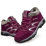 gracosy Women Flat Walking Hiking Ankle Boots, Winter Low Rise Slip On Trekking Footwear Anti-Slip Shoes with Fur Lined… 14