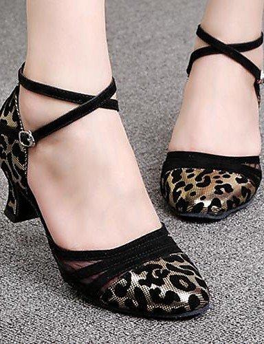 ShangYi Chaussures de danse (Argent/Or Talon bas - Similicuir/Velours - Moderne