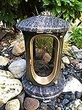 Stone & More - Lanterna funebre in Granito/Metallo pressofuso Himalaya Uni – Fiore Color Bronzo Friedhofslicht Lampada da cimitero Massiccio Grablicht Color Bronzo Himalaya Fiore