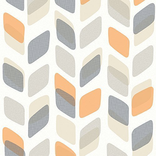 galerie-unplugged-abstract-leaf-pattern-retro-geometric-vinyl-wallpaper-grey-orange-un3002