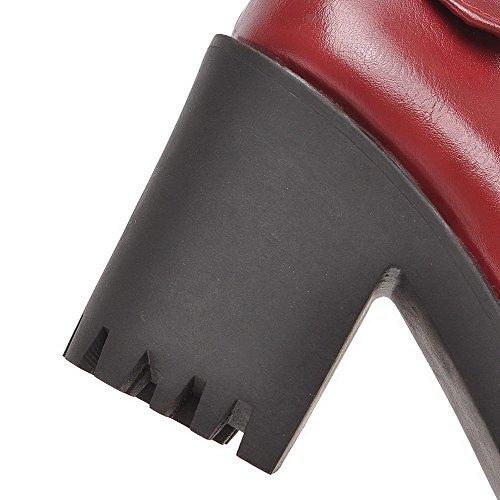 AgooLar Femme à Talon Haut Tire Couleur Unie Matière Souple Rond Chaussures Légeres Rouge