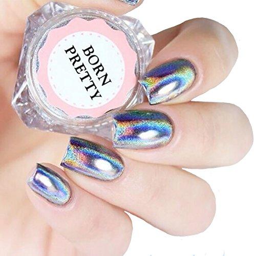 Born Pretty 0.5g Holographic Laser Regenbogen Pulver Chrom Pigment Nail Art Glitzer Maniküre