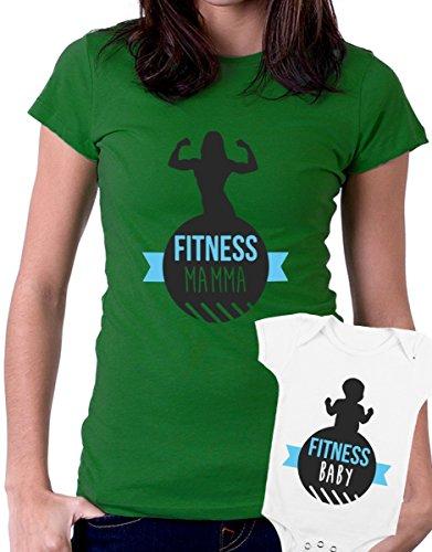 t-shirt e body festa della mamma - Fitness Mamma, Fitness baby, palestra, super mamma, love -tutte le taglie uomo donna maglietta by tshirteria verde