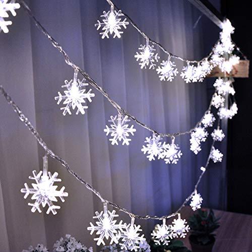 Cozyhoma Lichterkette, 40 LEDs, Schneeflocken, 50 m, batteriebetrieben, wasserdicht, für Weihnachtsdekorationen, Party, Hochzeit, Garten, Terrasse, Urlaub, Innen und Außen