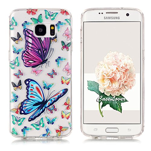 Samsung S7 Edge Hülle , Galaxy S7 Edge Tasche , Caselover TPU Silikon Backcover Slim Fit Schutzhülle Tasche Etui Case Smart Cover für Samsung Galaxy S7 Edge SM - G935F (5.5 zoll) Ultradünnen Transparent Ctystal hülle Skin Schutz Schale Protective Cover Rück Bunter Schmetterling Design - Butterfly and Flower