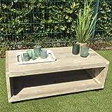 Lounge Tisch mit Rollen Garten Möbel Bauholz 45x120x60cm natur