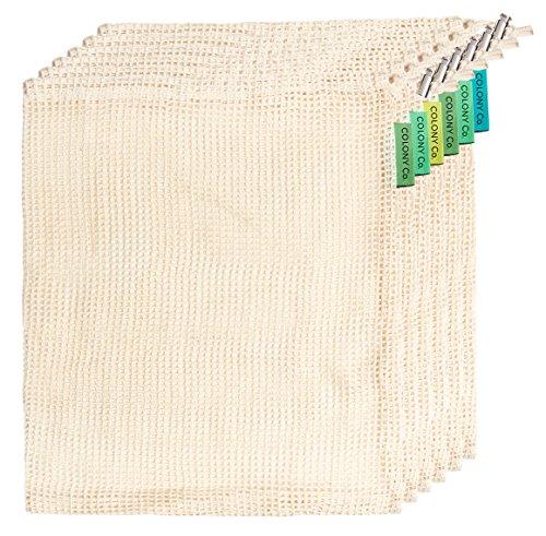 Colony Co. Netzbeutel-Set | 5 Stück - MEDIUM (ca. 33x28 cm) | Einkaufshelfer für Obst, Gemüse, lose Lebensmittel| reine Baumwolle | Maschinenwäsche | Tara-Angaben in Gramm und Unzen | Kein Plastik
