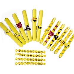 ONEDONE Emoji emoji pulsera pulseras de goma de silicona, juguetes infantiles para fiestas, regalos de cumpleaños divertidos paquete de pulseras bolsa de 16 en 3 modelos