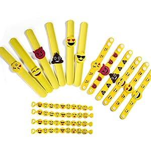 ONEDONE Emoji braccialetto emoji braccialetti di gomma di silicone, giocattoli festa, bambini divertenti regali di compleanno del pacchetto Bracciali sacchetto 16 in 3 modelli