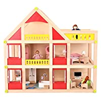 Mamabrum Wooden Doll House With Furniture | 3 Storey Play Set With 18PCS Furniture And 3 Dolls