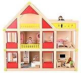 Dodo Toys hochwertiges Puppenhaus aus Holz mit 3 Holzpuppen, Einrichtung und Zubehör - Puppen...