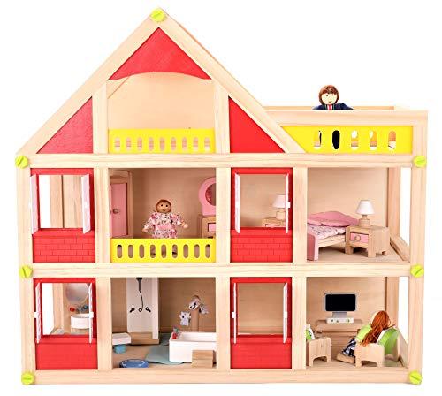 Dodo Toys hochwertiges Puppenhaus aus Holz mit 3 Holzpuppen, Einrichtung und Zubehör - Puppen Familien Traumhaus mit Tragegriff zum Mitnehmen - Stadthaus 55 x 26,5 x 51,5 cm