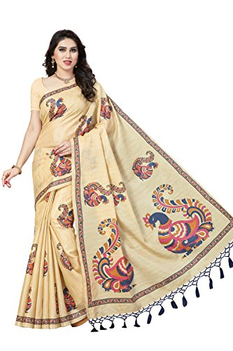 Rani Saahiba Art Silk Saree with Blouse Piece (SKR3928_Beige - Blue_one size)