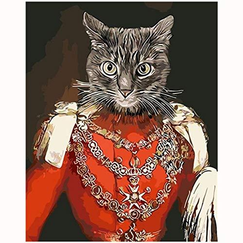 RYUANYUAN Freches Katze-Reizendes Bild-Malerei-Karikatur-Malen Nach Zahlen Moderne Wandkunst-Acrylbild-Handgemalte Kindergeschenk 16x20 inch (40x50 cm) - Mädchen Freche Katze Kostüm
