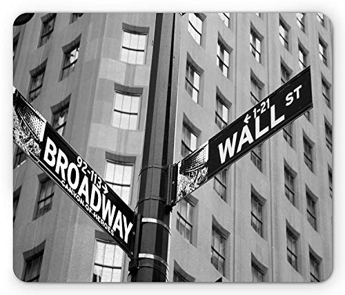 WYICPLO York Mouse Pad, Street Signs of Intersection of Wall Street and Broadway Finance Destinations, Standard Size Rectangle Non-Slip Rubber Mousepad, Black and White -