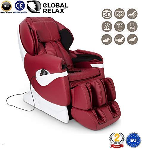 REBAJAS -160€ l SAMSARA® Sillon de masaje 2D - Rojo (modelo 2019) - Sofa masajeador electrico de relax con shiatsu - Silla butaca con presoterapia, gravedad cero, calor y USB - Garantía 2 Años
