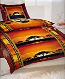 4-Teilig Microfaser Bettwäsche Afrika Sonnenuntergang mit Reißverschluss 2x 155x220 Bettbezug + 2x 80x80 Kissenbezug